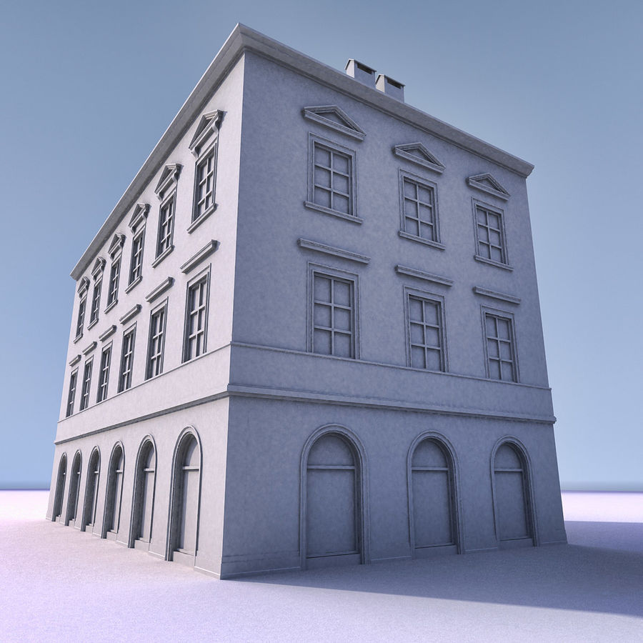 European Building 012 royalty-free 3d model - Preview no. 12