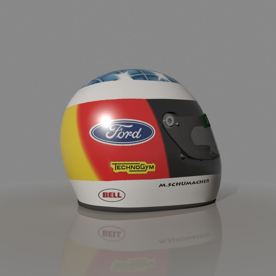 Michael Schumacher 1994 Helmet royalty-free 3d model - Preview no. 4