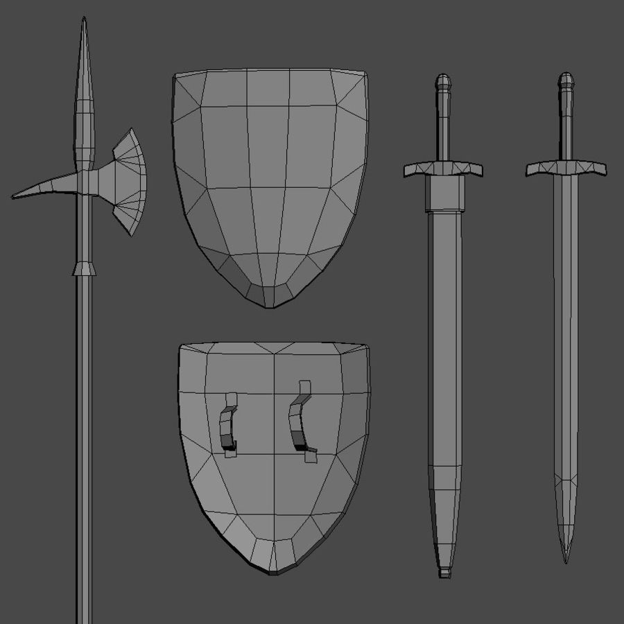 中世の武器 royalty-free 3d model - Preview no. 3