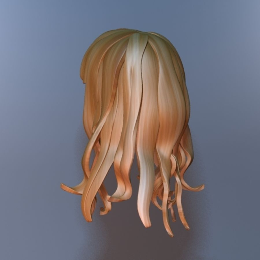 cartoon girl hair royalty-free 3d model - Preview no. 4