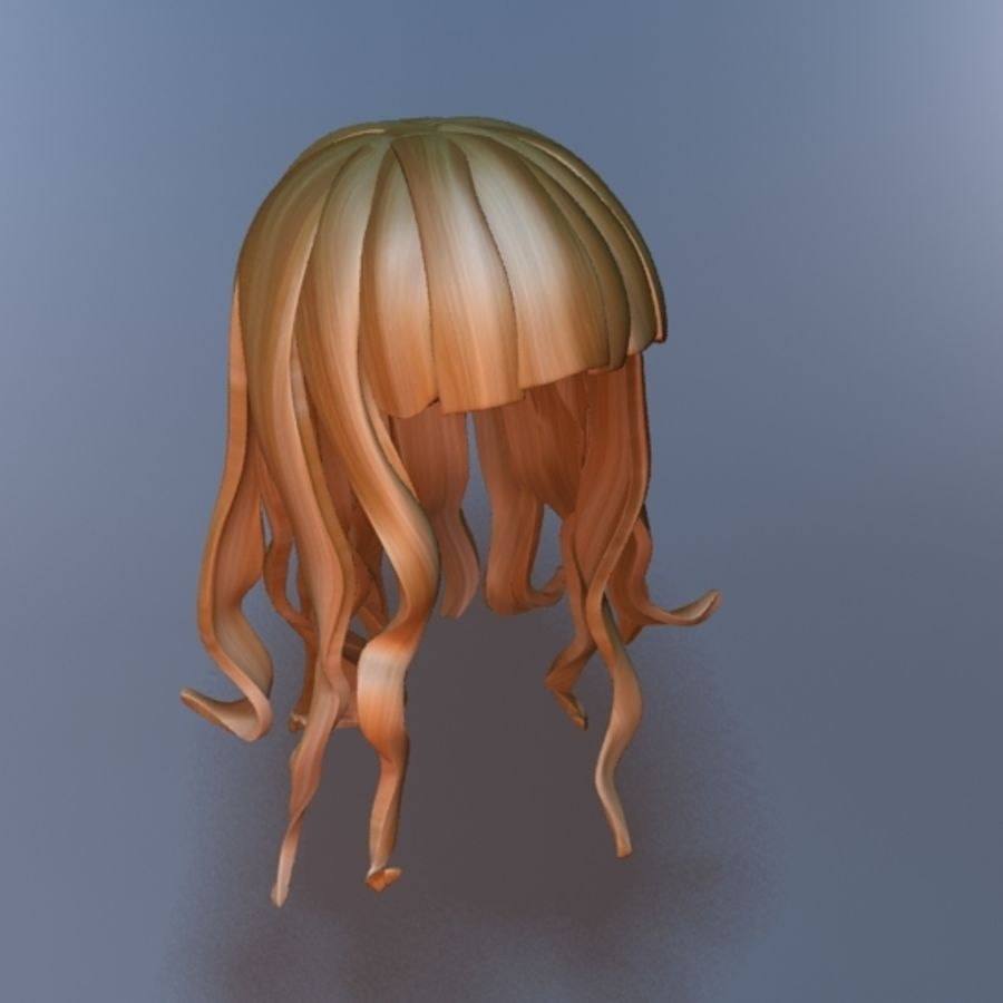 cartoon girl hair royalty-free 3d model - Preview no. 2