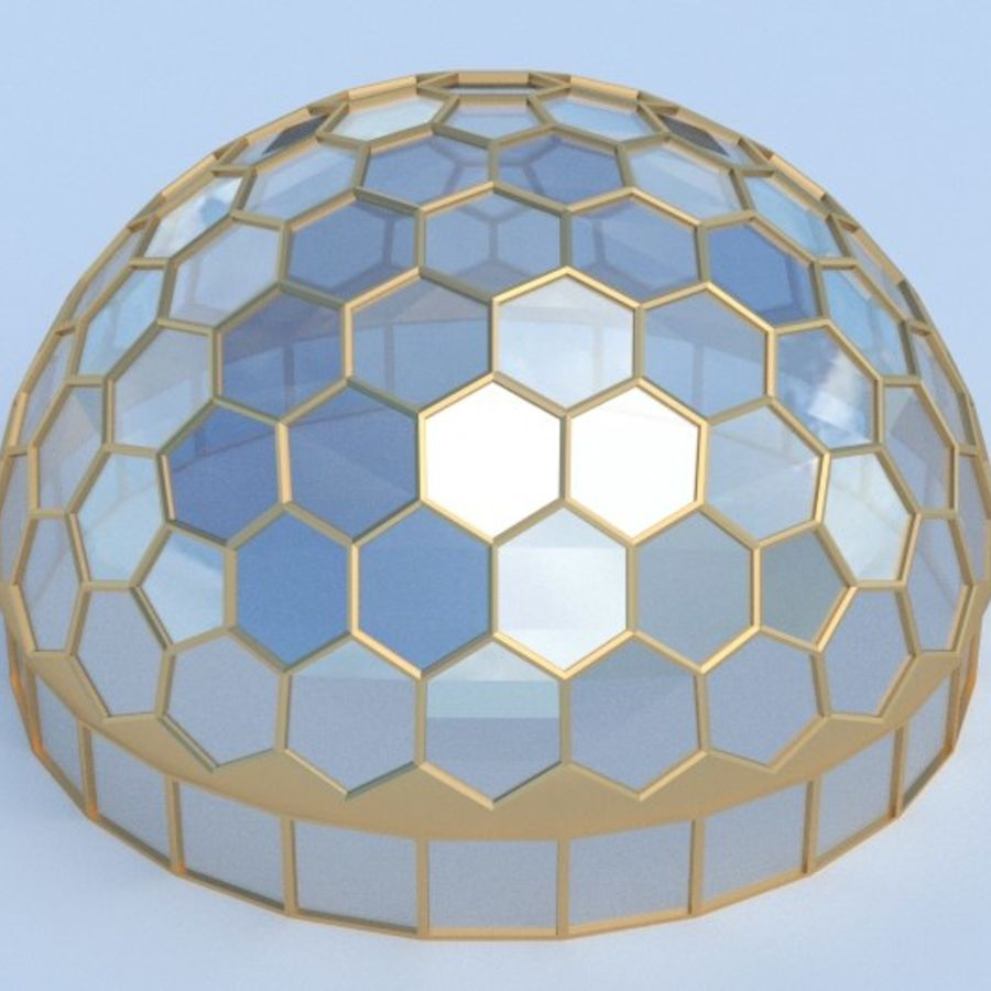 round hexagon dome royalty-free 3d model - Preview no. 1