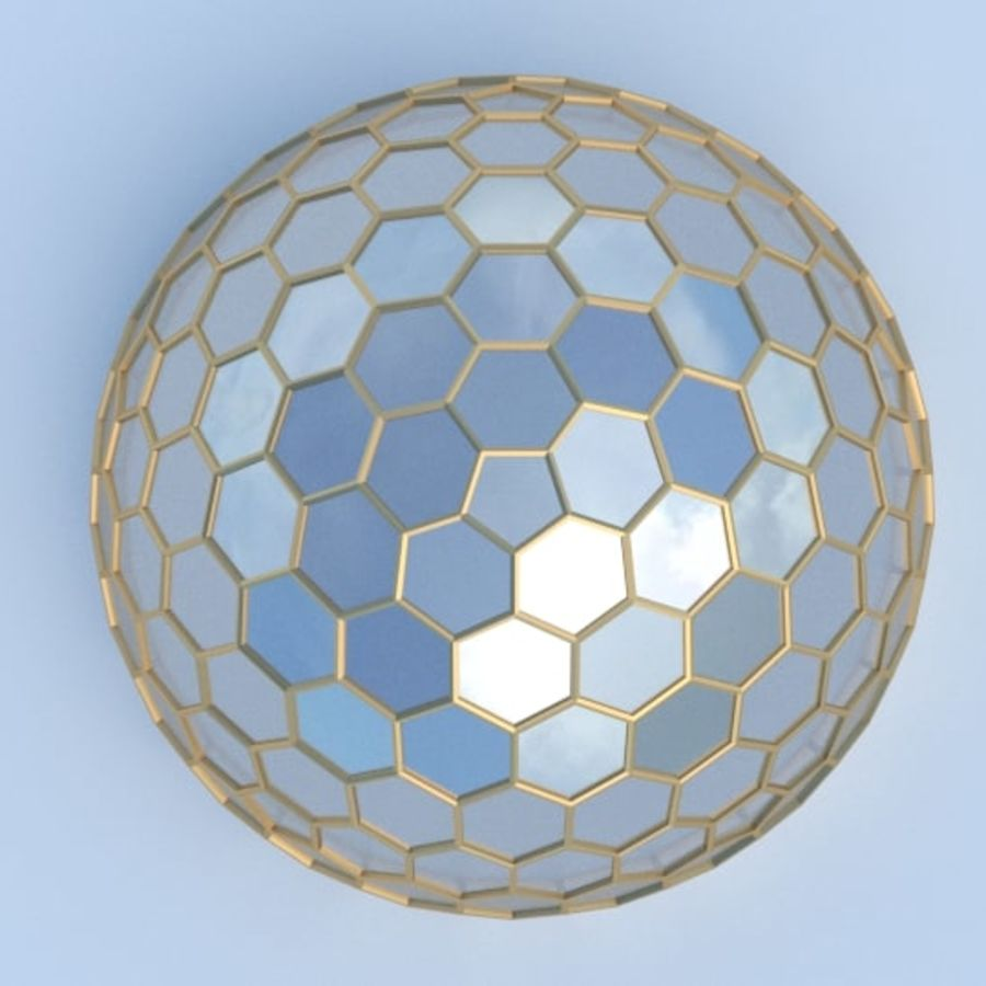 round hexagon dome royalty-free 3d model - Preview no. 3