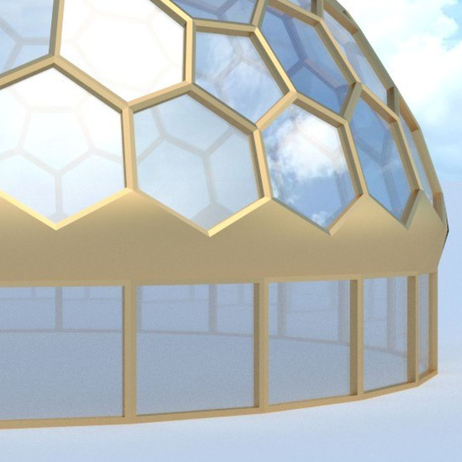round hexagon dome royalty-free 3d model - Preview no. 4
