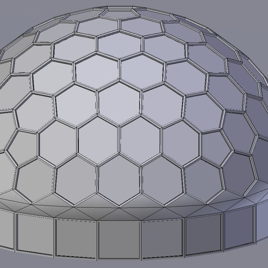 round hexagon dome royalty-free 3d model - Preview no. 6