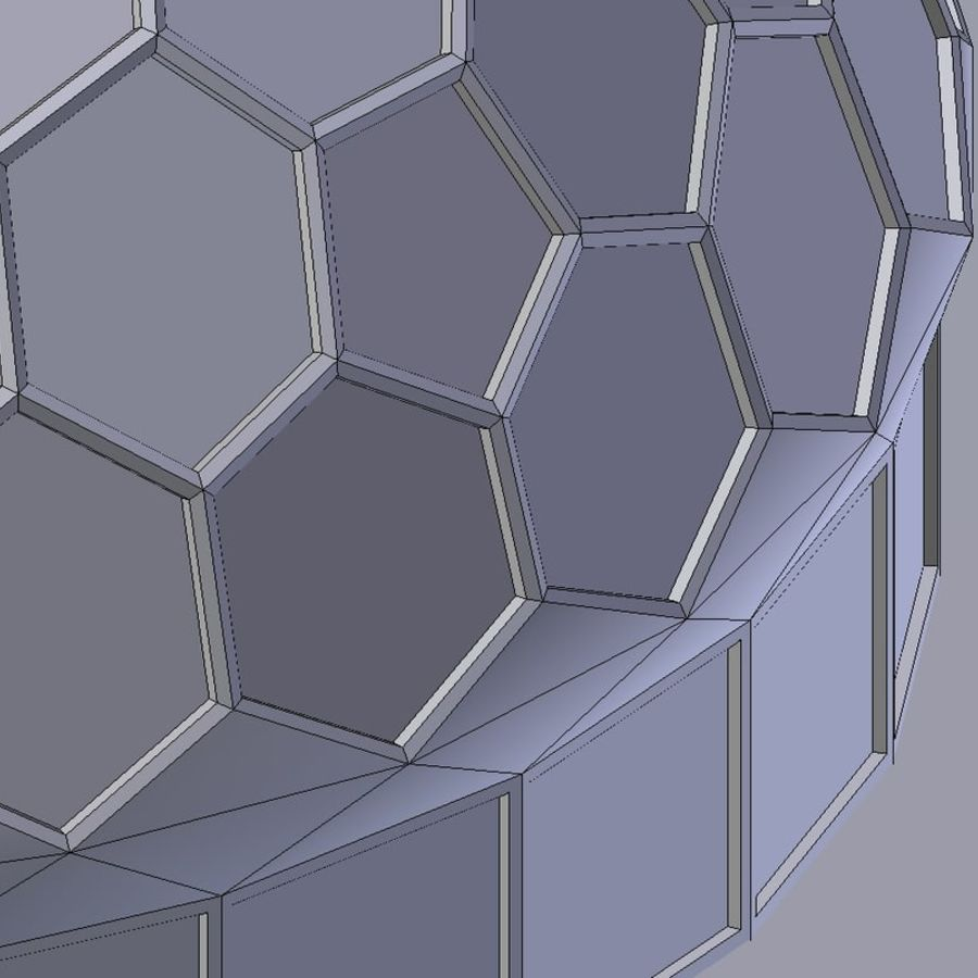 round hexagon dome royalty-free 3d model - Preview no. 7