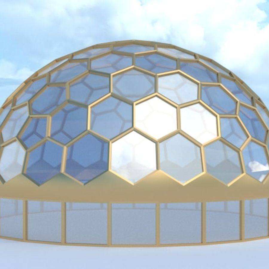 round hexagon dome royalty-free 3d model - Preview no. 2