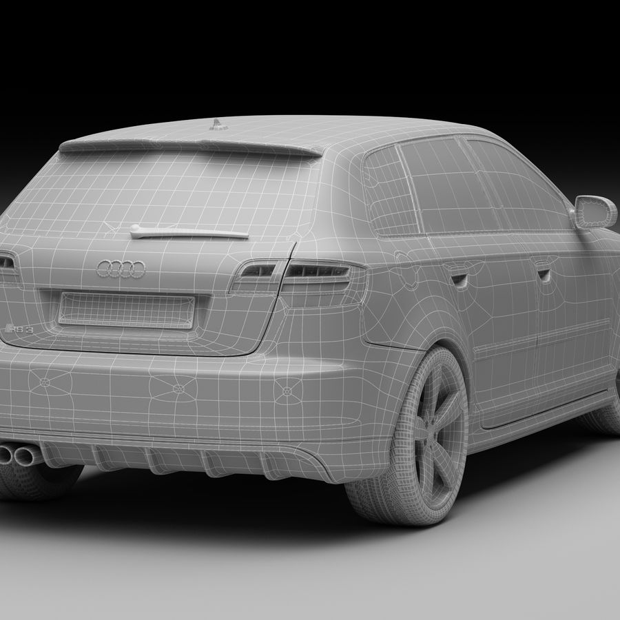 Audi RS3 2012 royalty-free 3d model - Preview no. 12