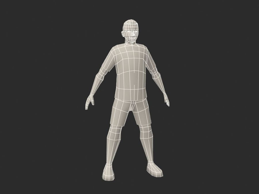 piłkarz (piłka nożna) royalty-free 3d model - Preview no. 6