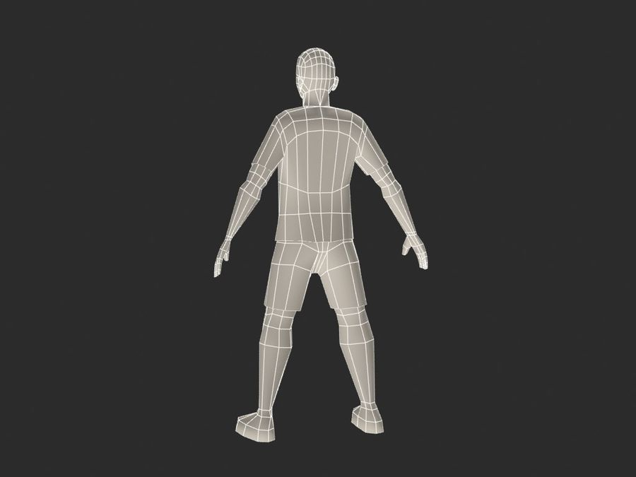 футболист royalty-free 3d model - Preview no. 7