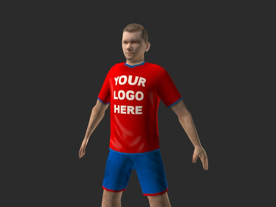 football (soccer) player royalty-free 3d model - Preview no. 3