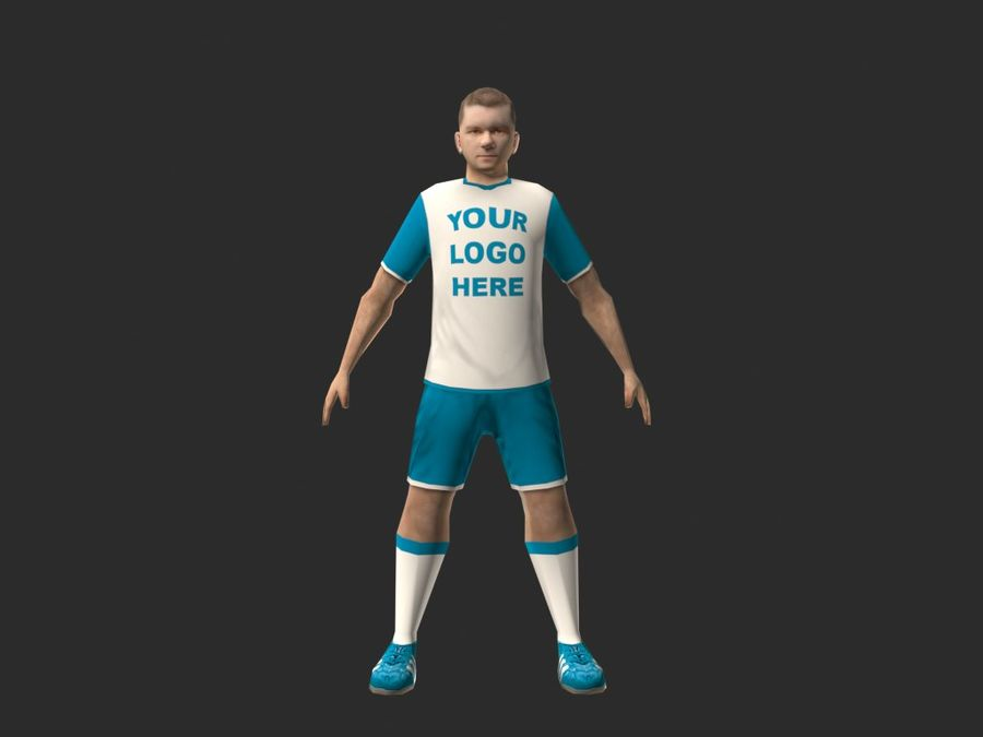football (soccer) player royalty-free 3d model - Preview no. 5