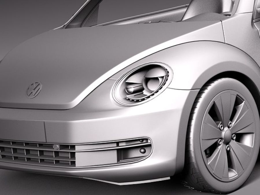 VW Beetle Convertible 2013 royalty-free 3d model - Preview no. 11