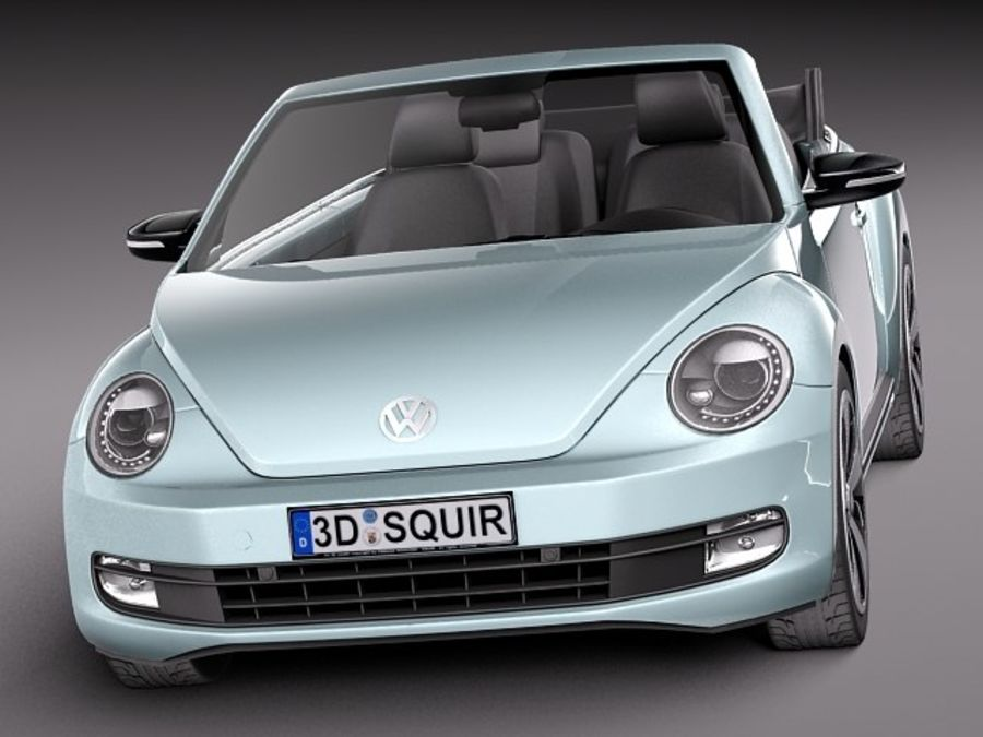 VW Beetle Convertible 2013 royalty-free 3d model - Preview no. 2
