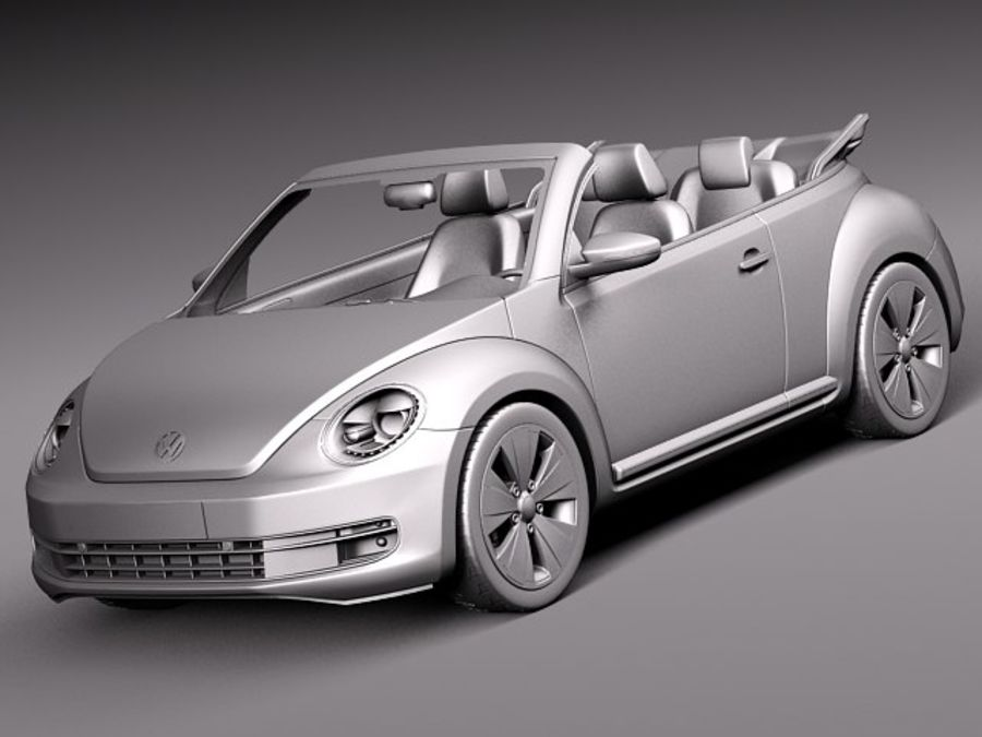 VW Beetle Convertible 2013 royalty-free 3d model - Preview no. 10
