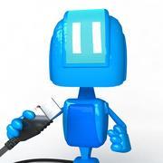 Robot truccato blu 3d model