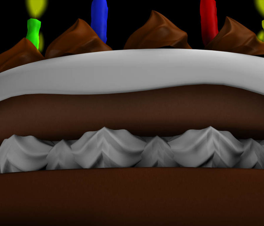 Birthday Cake royalty-free 3d model - Preview no. 4