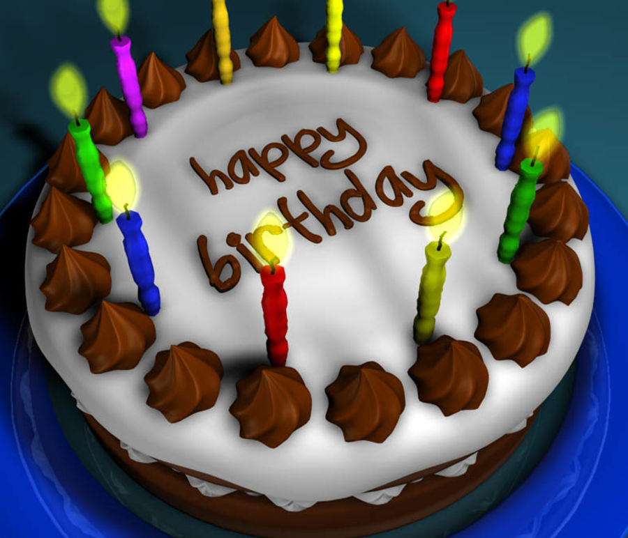 Birthday Cake royalty-free 3d model - Preview no. 2