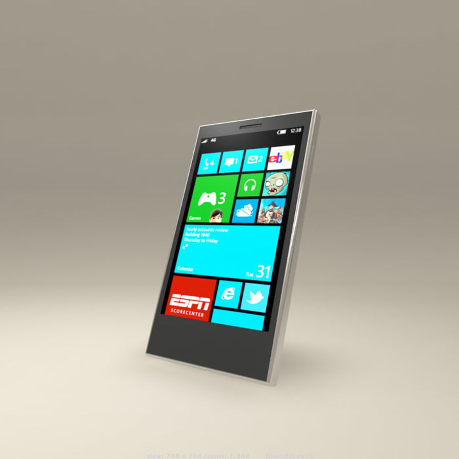 Windows Smart Phone royalty-free 3d model - Preview no. 3
