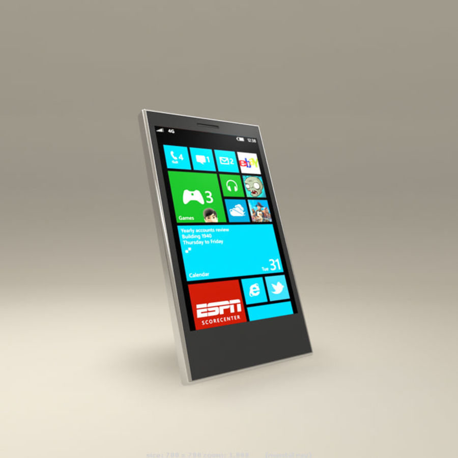 Windows Smart Phone royalty-free 3d model - Preview no. 2