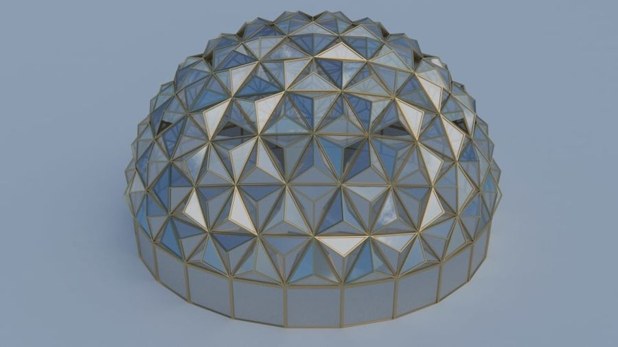 Tesselation Glaskuppel royalty-free 3d model - Preview no. 4