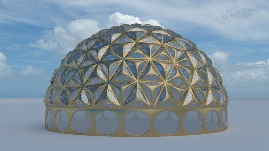 Tesselation Glaskuppel royalty-free 3d model - Preview no. 2