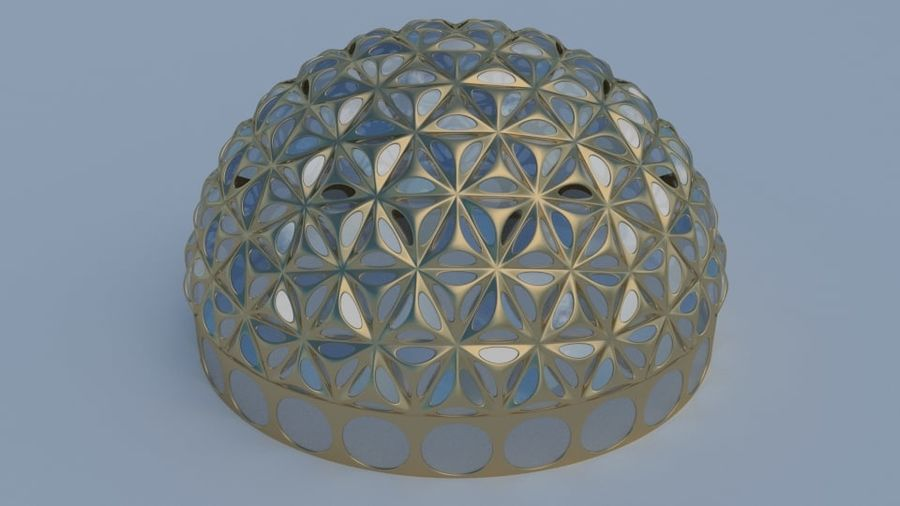 Tesselation Glaskuppel royalty-free 3d model - Preview no. 3
