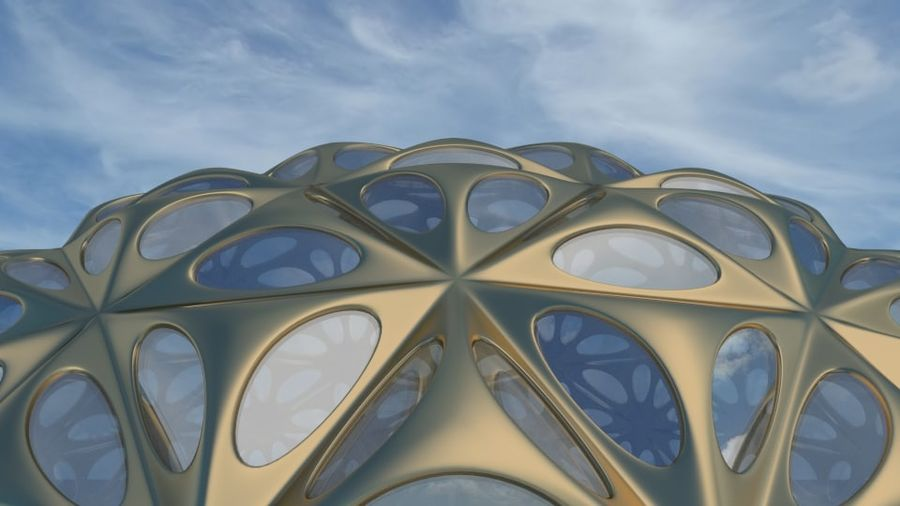 Tesselation Glaskuppel royalty-free 3d model - Preview no. 7