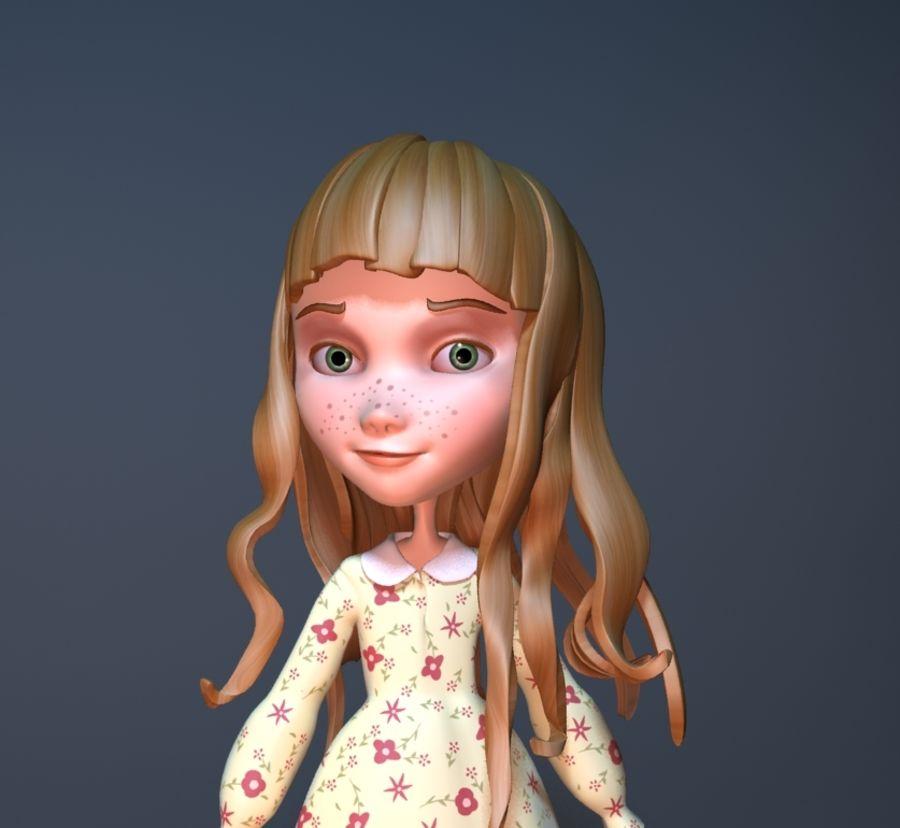cartoon girl royalty-free 3d model - Preview no. 2