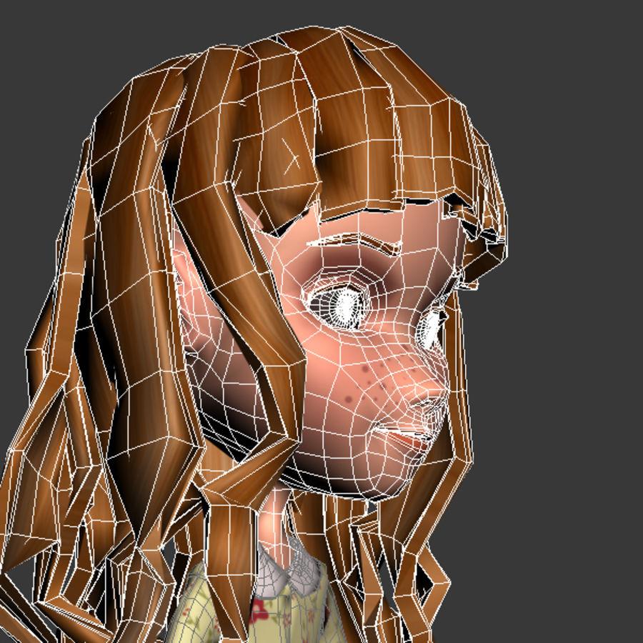 cartoon girl royalty-free 3d model - Preview no. 7
