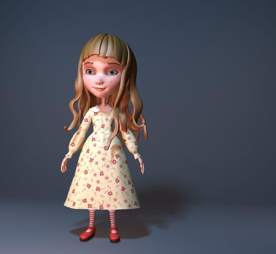 cartoon girl royalty-free 3d model - Preview no. 4