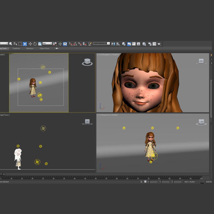 cartoon girl royalty-free 3d model - Preview no. 11