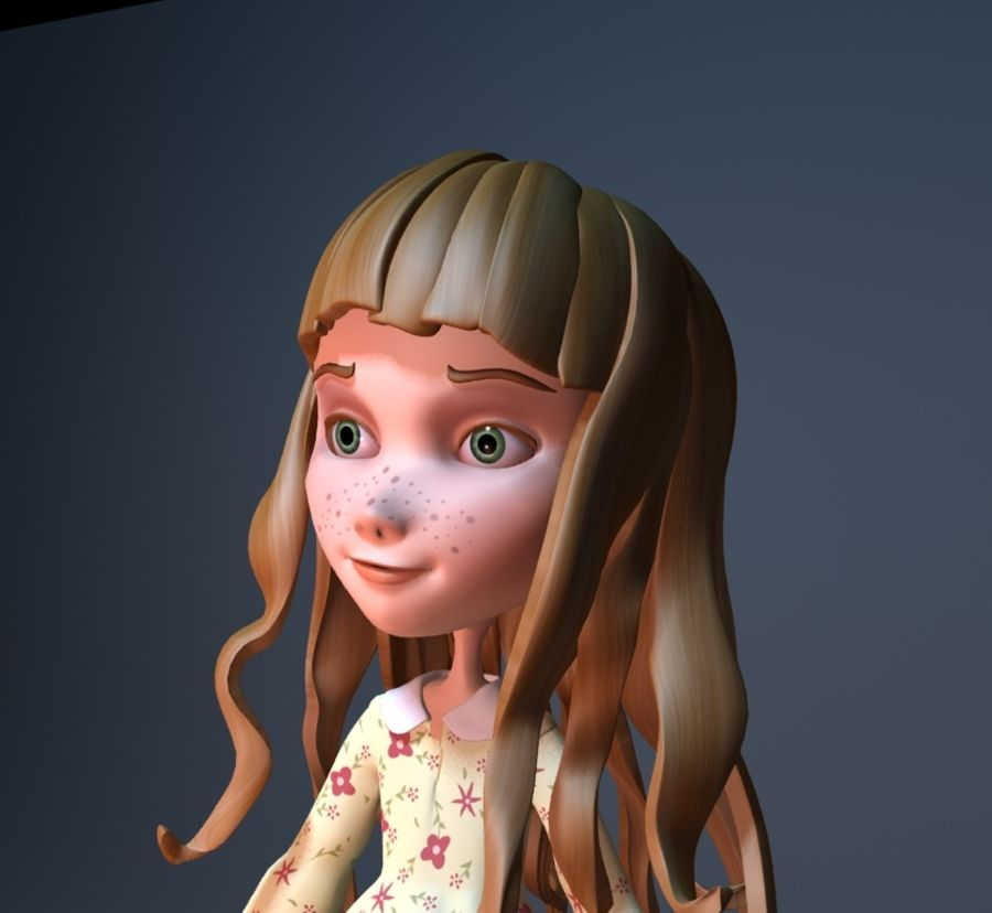 cartoon girl royalty-free 3d model - Preview no. 6
