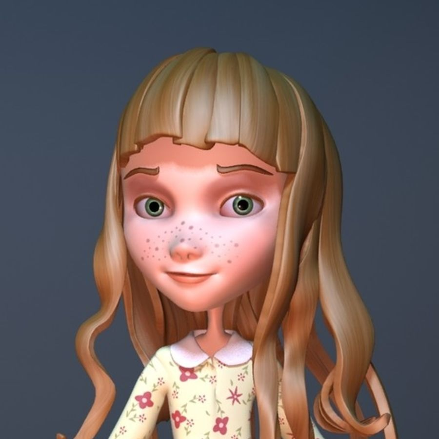cartoon girl royalty-free 3d model - Preview no. 17
