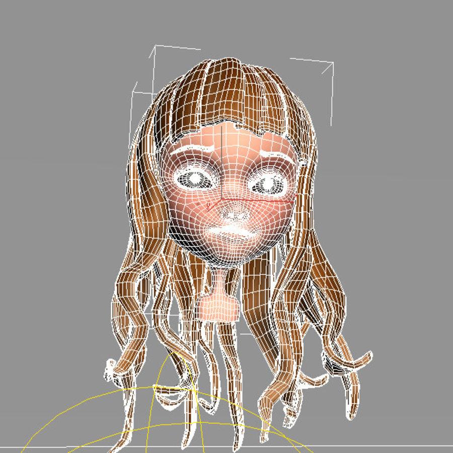 cute cartoon girl head royalty-free 3d model - Preview no. 5