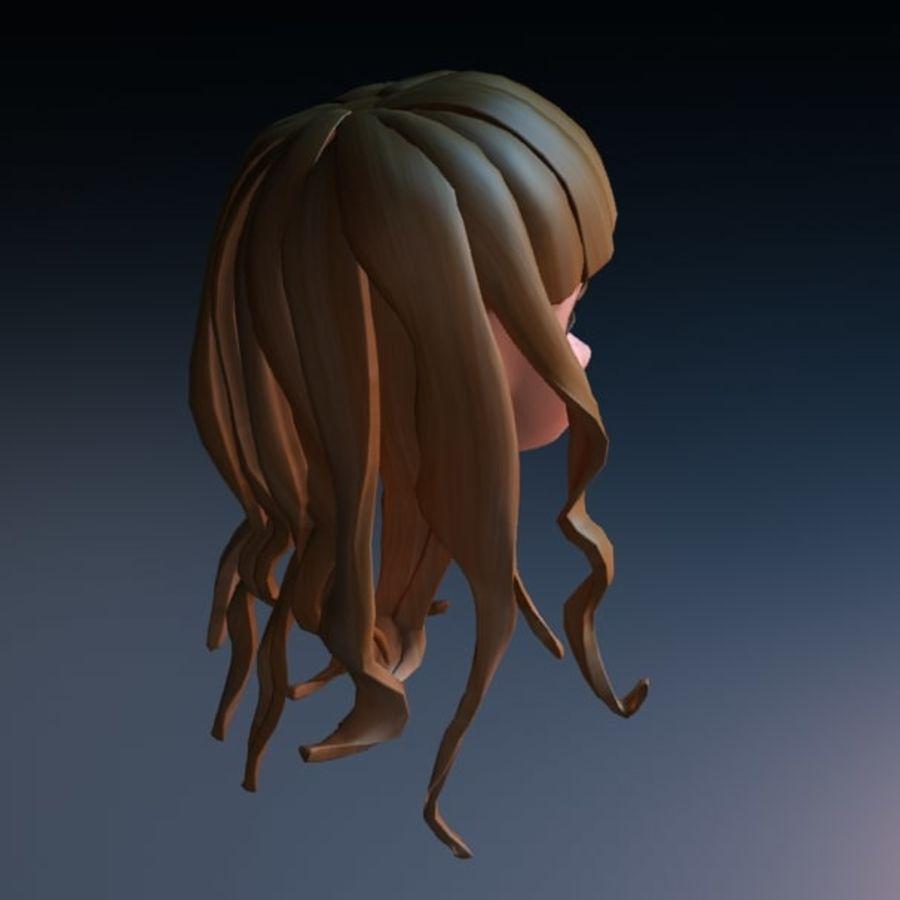 cute cartoon girl head royalty-free 3d model - Preview no. 3