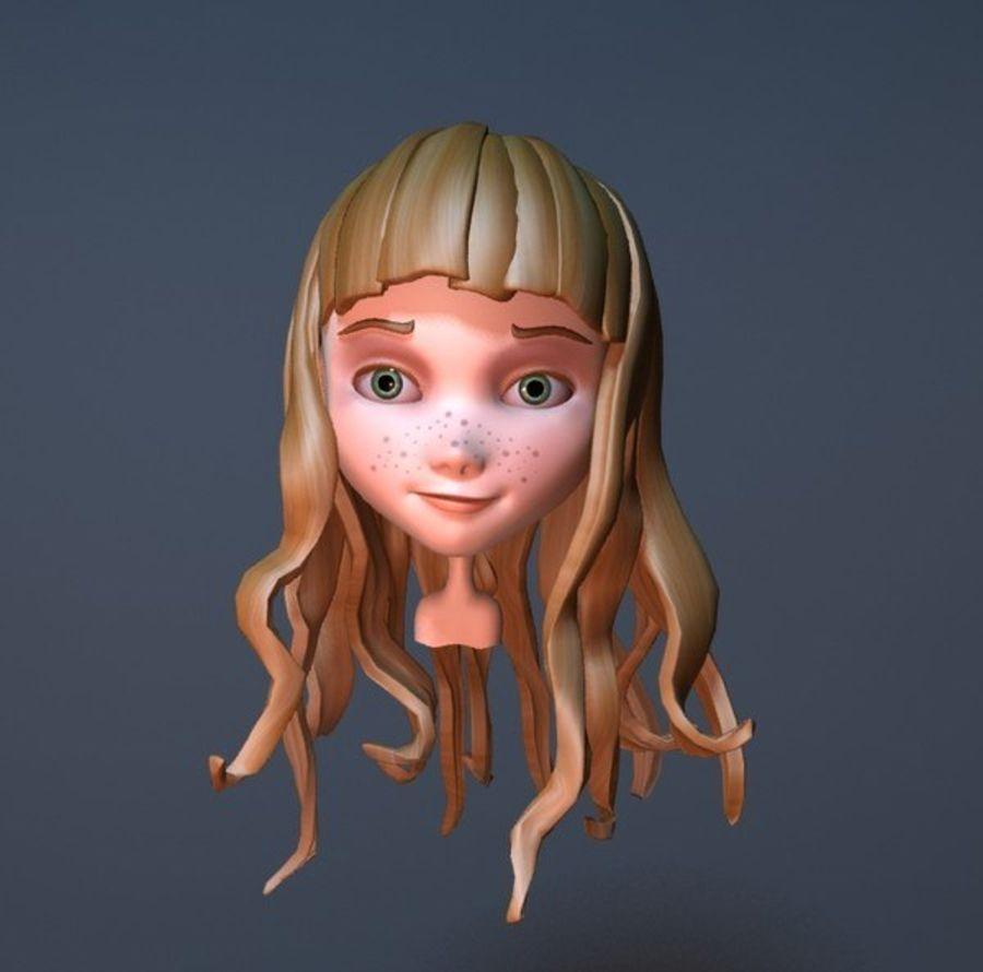 cute cartoon girl head royalty-free 3d model - Preview no. 11