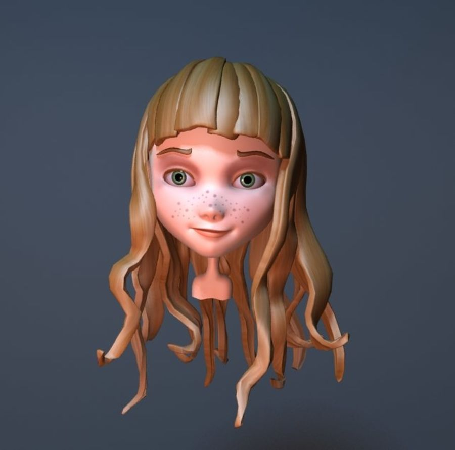 cute cartoon girl head royalty-free 3d model - Preview no. 1