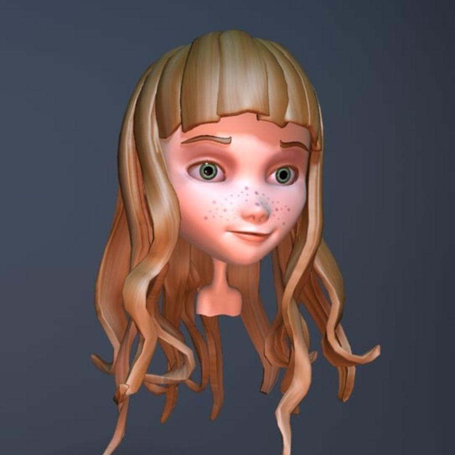 cute cartoon girl head royalty-free 3d model - Preview no. 2