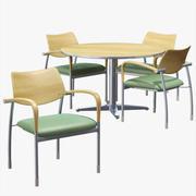 Mesa de escritório e cadeiras 3d model
