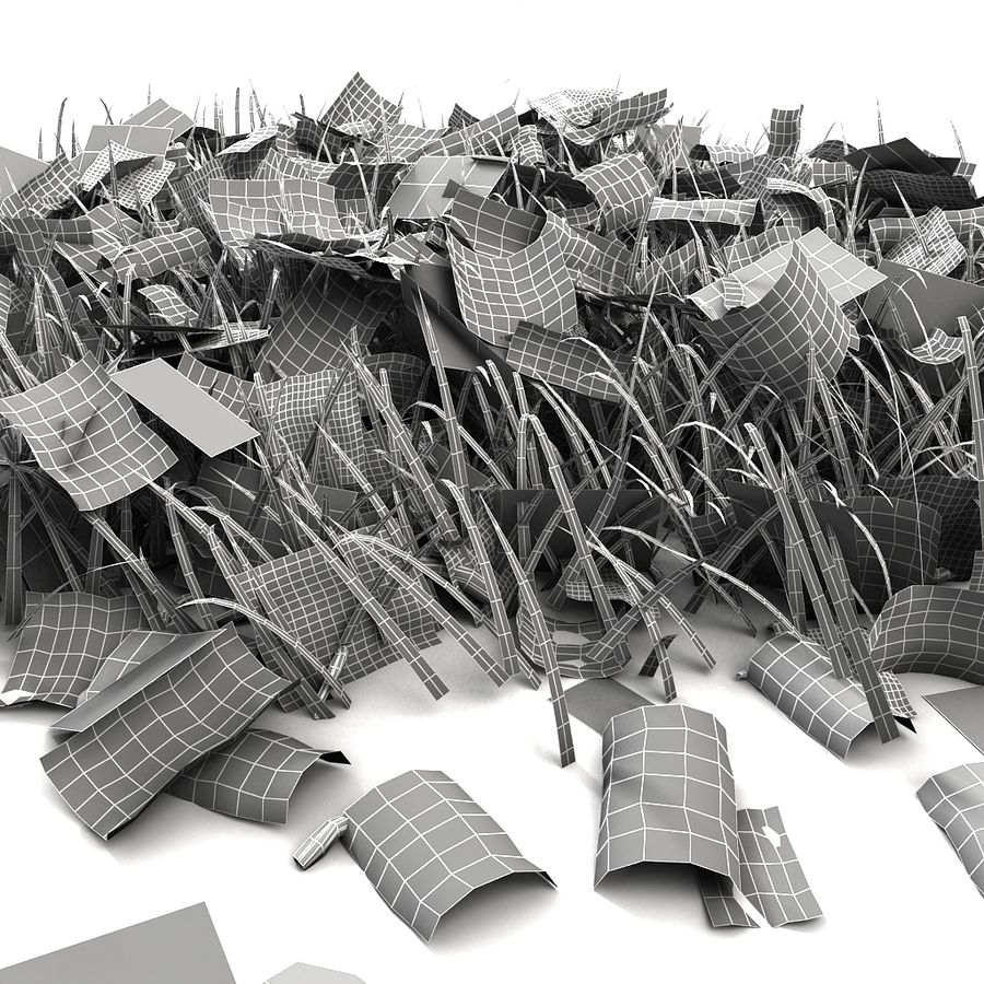 Autumn Grass With Dead Yellow Old Leaves royalty-free 3d model - Preview no. 21