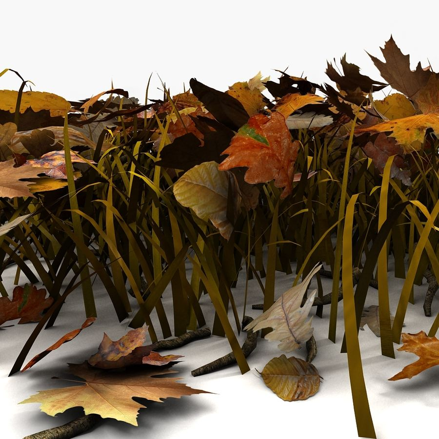 Autumn Grass With Dead Yellow Old Leaves royalty-free 3d model - Preview no. 10