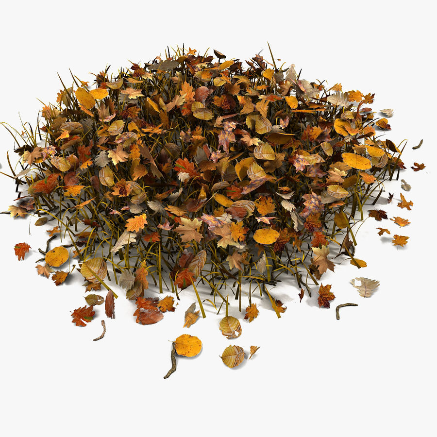 Autumn Grass With Dead Yellow Old Leaves royalty-free 3d model - Preview no. 1