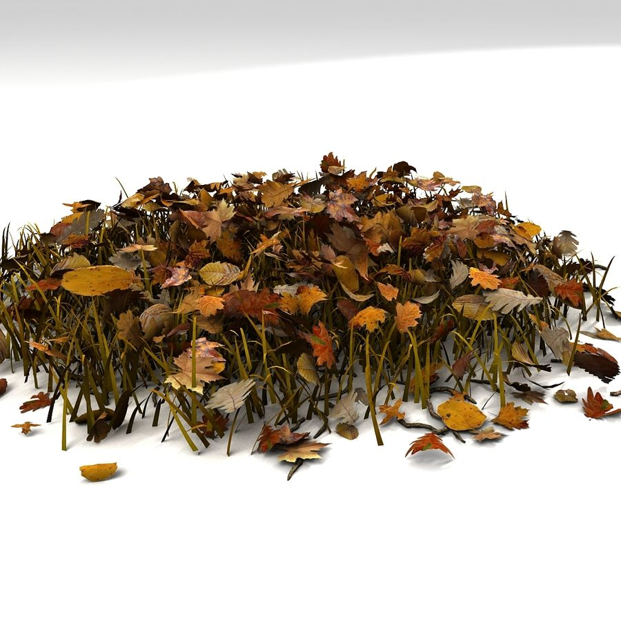 Autumn Grass With Dead Yellow Old Leaves royalty-free 3d model - Preview no. 5