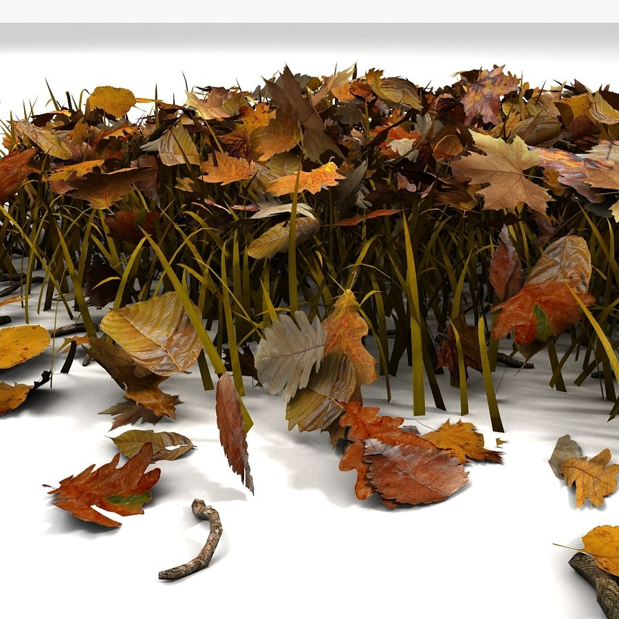 Autumn Grass With Dead Yellow Old Leaves royalty-free 3d model - Preview no. 11