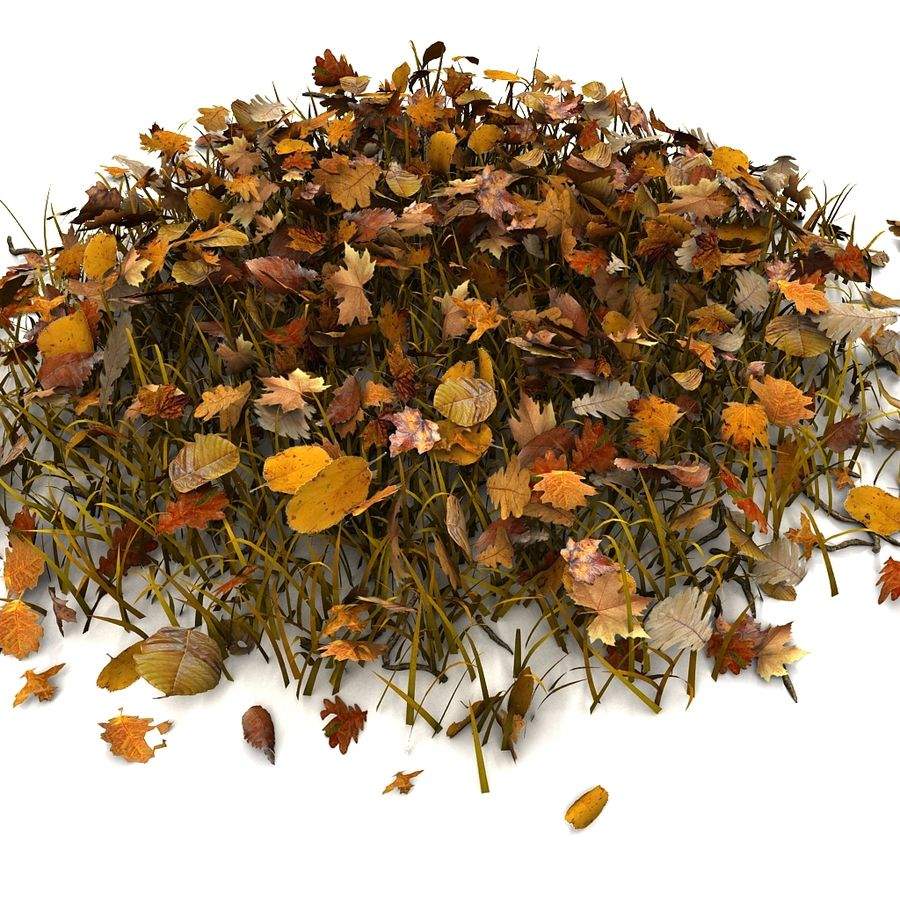 Autumn Grass With Dead Yellow Old Leaves royalty-free 3d model - Preview no. 14
