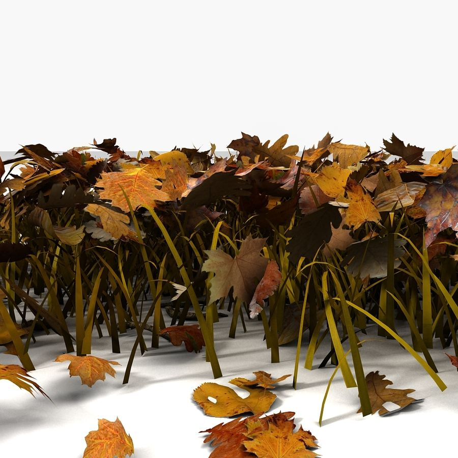 Autumn Grass With Dead Yellow Old Leaves royalty-free 3d model - Preview no. 8