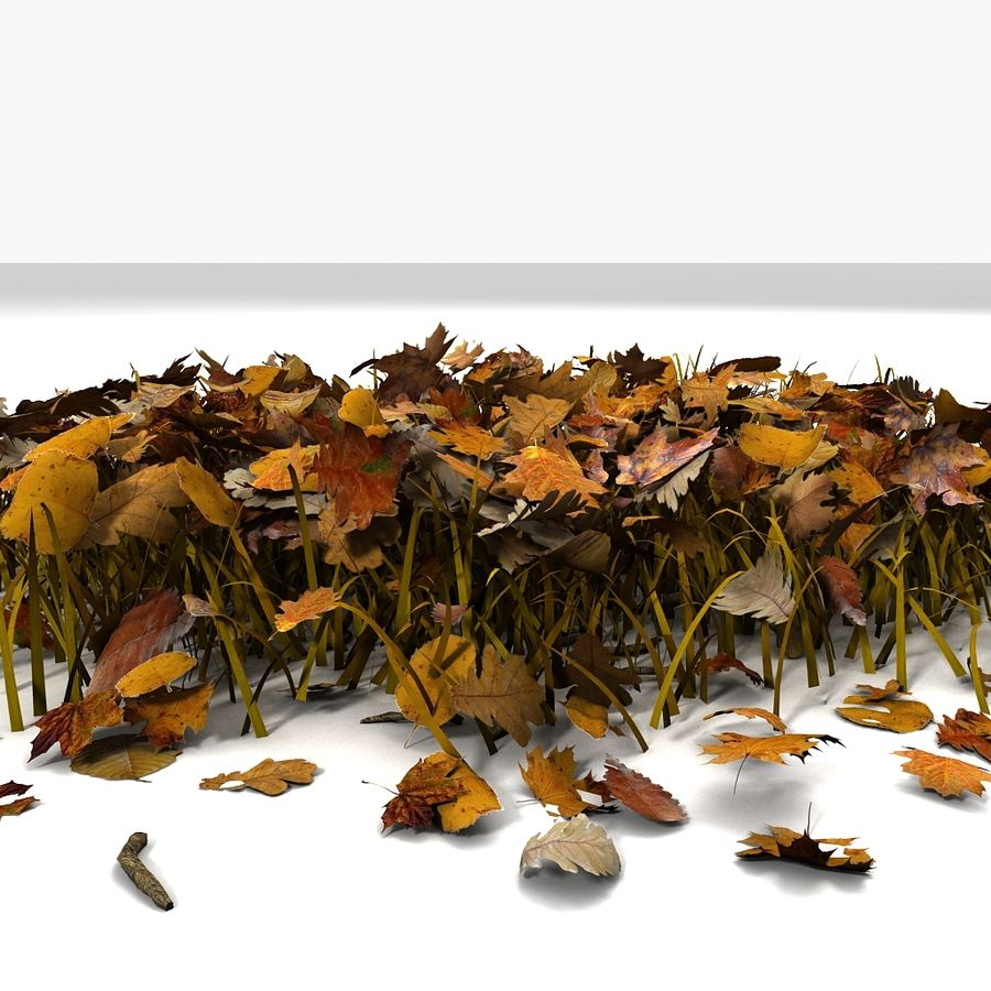 Autumn Grass With Dead Yellow Old Leaves royalty-free 3d model - Preview no. 7