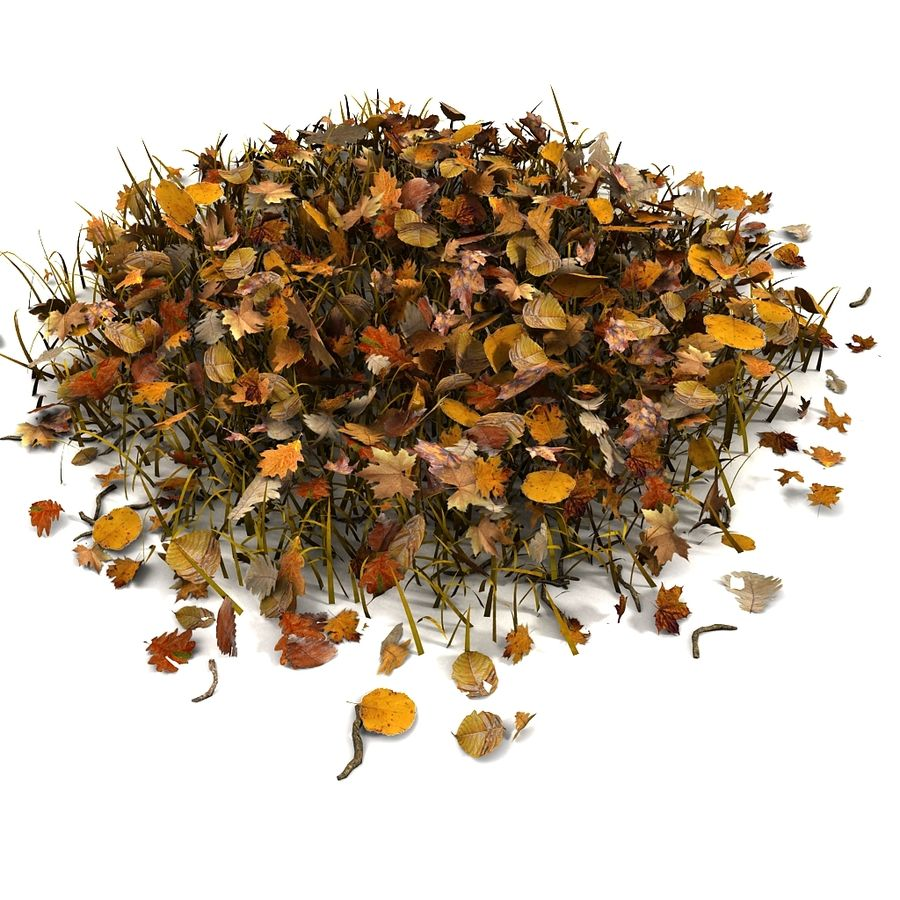 Autumn Grass With Dead Yellow Old Leaves royalty-free 3d model - Preview no. 2