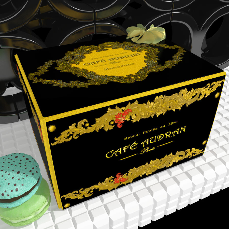 Confezione regalo Torta francese macaron royalty-free 3d model - Preview no. 2
